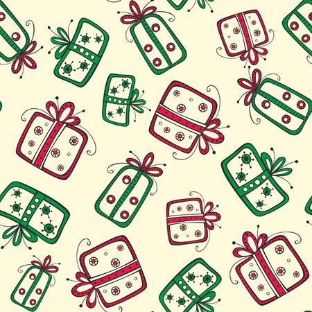 Seamless pattern with christmas red and green gifts on the yellow background Stock Vector - 16921920