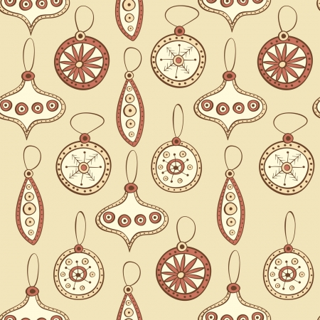 Seamless pattern with Christmas tree decoration brown colors