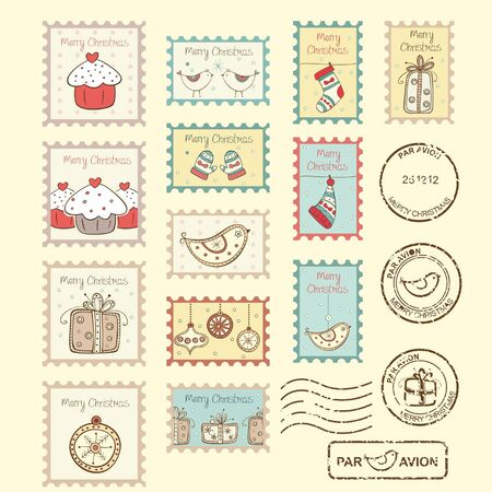 Set of christmas post stamps on yellow background Vector