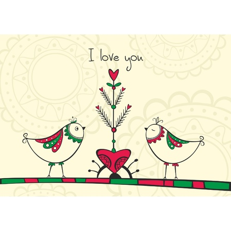 Card with ethnic birds and love Tree on the yellow background Vector