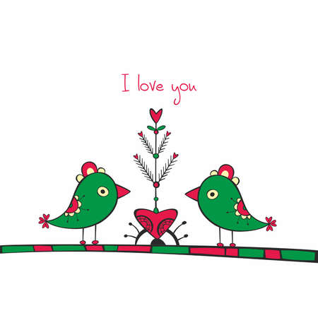 Card with ethnic birds and love Tree on white background Vector
