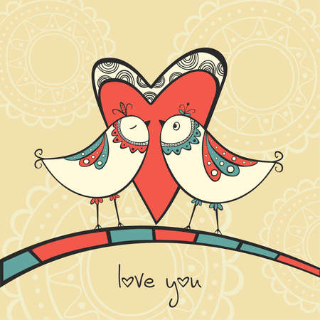 Card with ethnic birds in love Vector