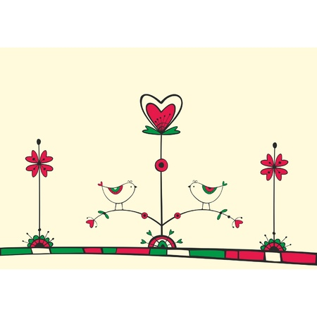 Card with ethnic birds on the love Tree Stock Vector - 17632527