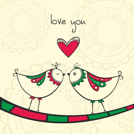 Card with ethnic kissing birds in love on the yellow background