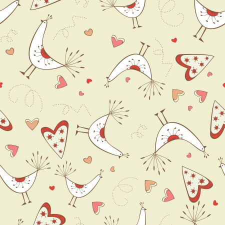 Seamless pattern with birds and hearts on the yellow background