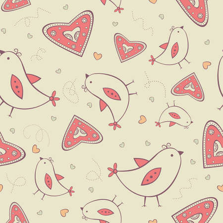 Seamless pattern with birds and hearts Illustration