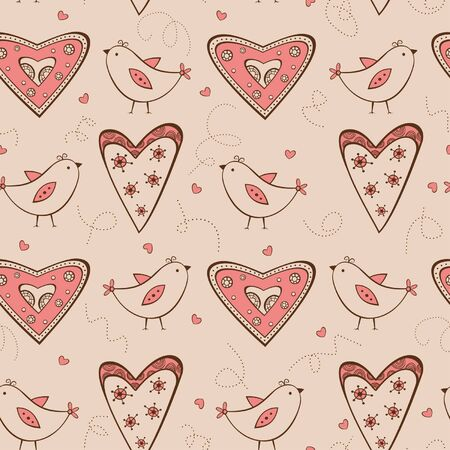 horizontal position: Seamless pattern with birds and hearts horizontal position Illustration