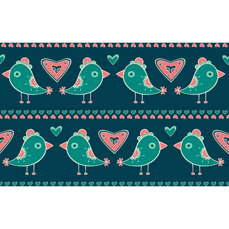 Seamless pattern with birds and hearts on turquoise background