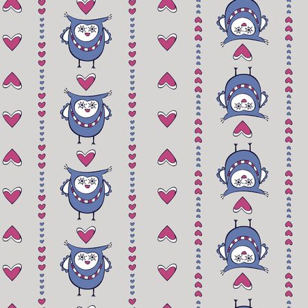 Seamless pattern with owls and hearts on the grey background Illustration