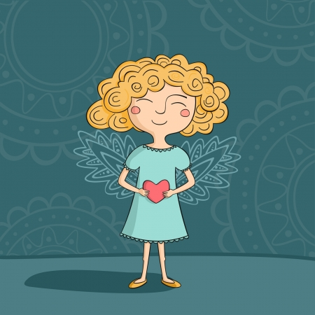 Blonde girl angel with heart