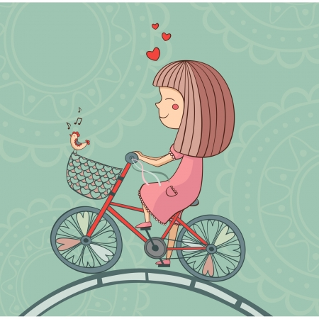 Enamored girl on bicycle with singing bird and hearts Stock Illustratie