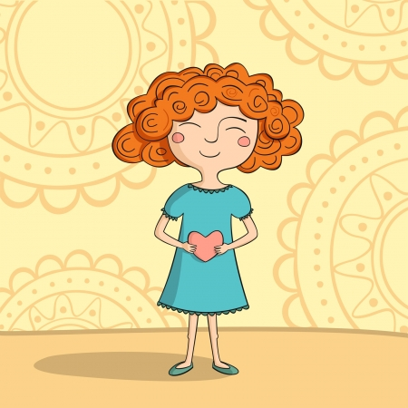 Red-haired girl with heart