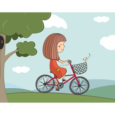 Illustration of girl riding a red bike  Stock Vector - 18302299