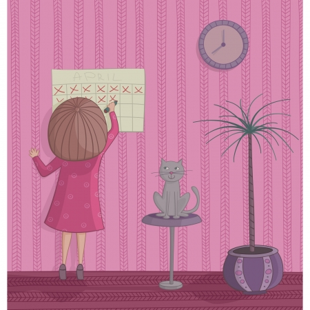 Girl cross out day on the calendar waiting for holiday Illustration