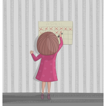 anticipation: Girl cross out day on the calendar waiting for holiday Illustration