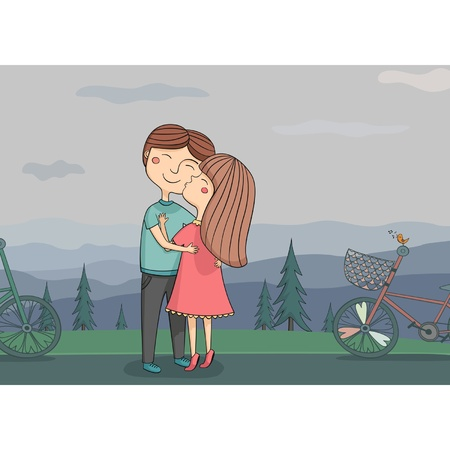 Illustration of girl kissing boy on the cheek with mountains in the background and bike