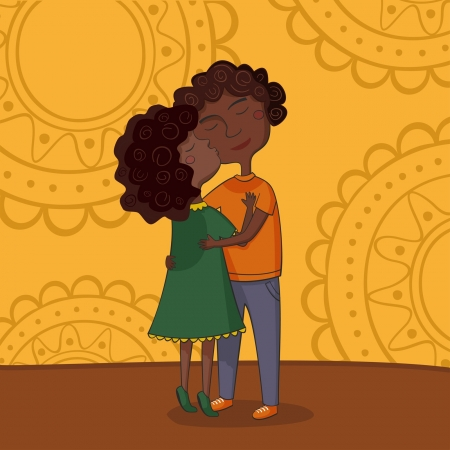 Illustration of multicultural boy and girl kissing on the cheek in hugs Vector