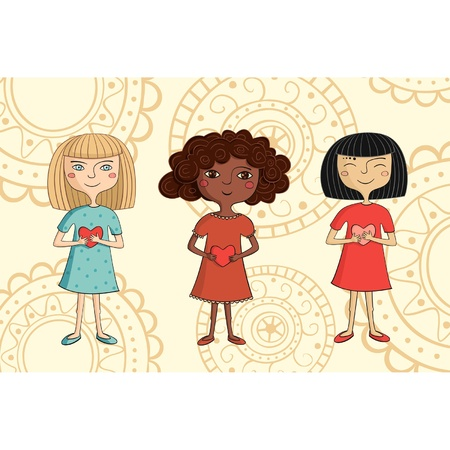 Illustration of multicultural girls with hearts on ornate background Vector
