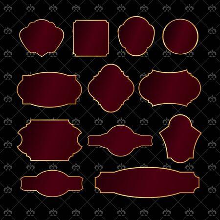 Set of vintage golden frames on black damask background Stock Vector - 18705334