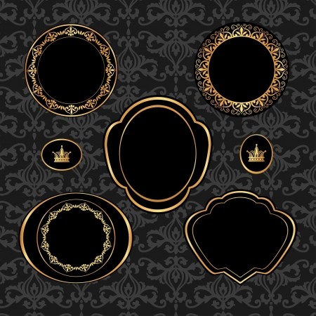 Set of vintage black frames witk golden elements on gray damask background Vector