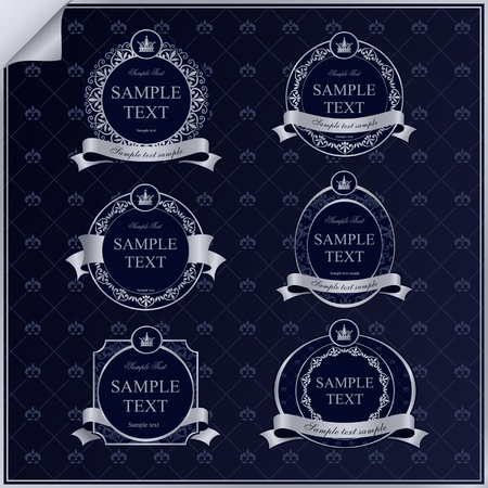 set of vintage dark blue frame labels with silver elements and crown Stock Vector - 18705350