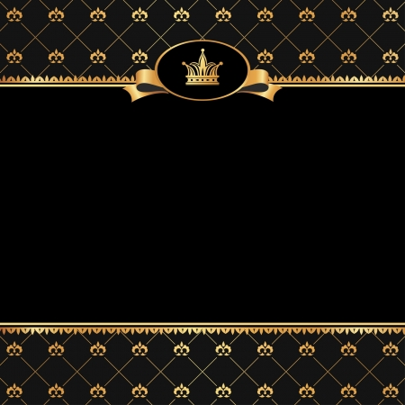 Vintage black background with frame of golden elements and crown for text
