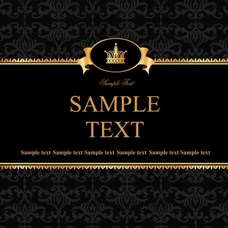 Vintage black damask background with frame of golden elements and crown for text