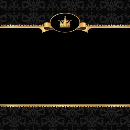 Vintage black damask background with frame of golden elements and crown without text