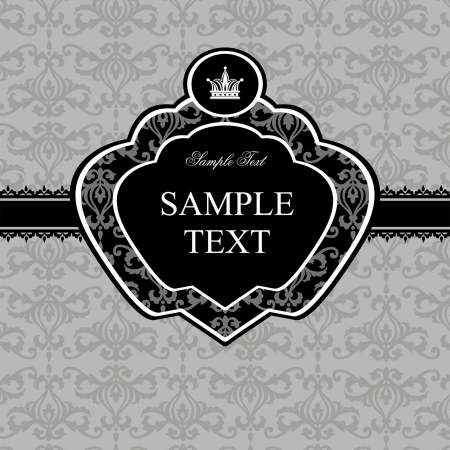Vintage gray damask background with black frame and white elements for text Illustration