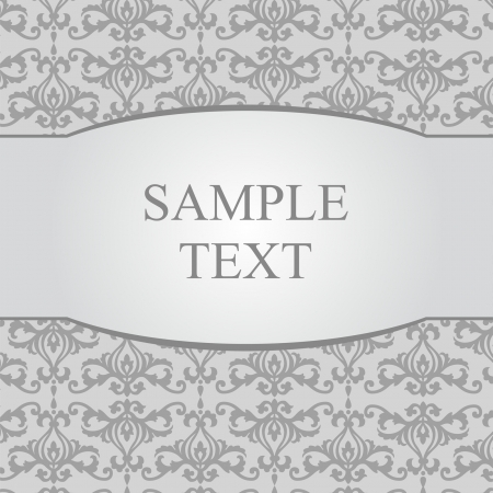 Vintage gray damask background with frame for text