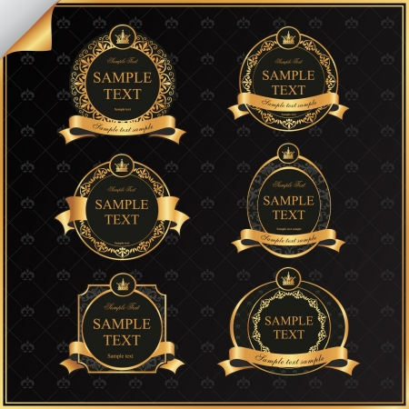 Vintage set of black frame label with gold elements and crown