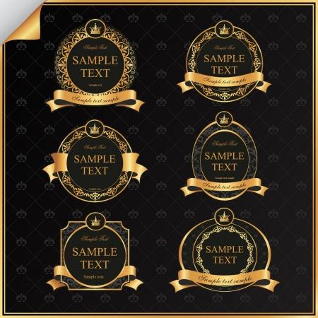 Vintage set of black frame label with gold elements and crown