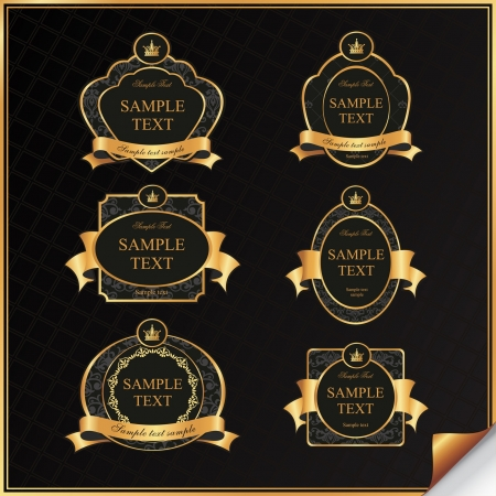 Vintage set of black frame label with gold elements and crown Vector
