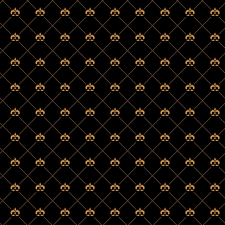 Golden damask seamless pattern on the black background Stock Vector - 19185249