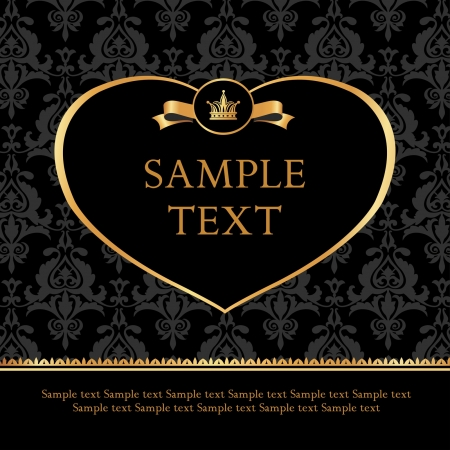 Golden label heart with crown and ribbon on damask black background