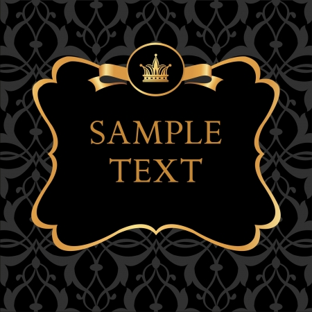 Golden label with crown and ribbon on damask black background Stock Illustratie