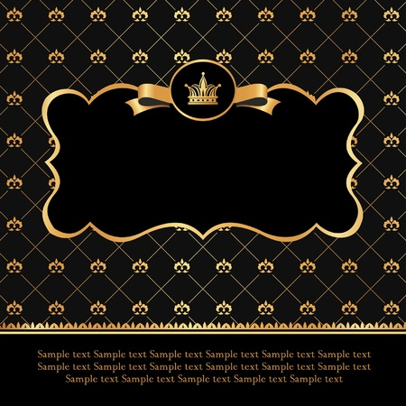 Golden label with ribbon and crown on damask black background Illustration