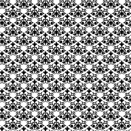 Seamless black damask pattern on the white background Stock Vector - 19185244