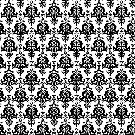 Seamless black damask pattern on the white background Stock Vector - 19185245