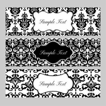 Black and white labels on damask background