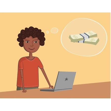 earnings: Afro-amerikanische schwarze Kerl in der N�he der Laptop denkt �ber das Ergebnis und Geld