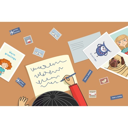 Asian girl writes a letter with postcard Illustration