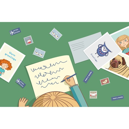 Blonde girl writes a letter with postcard