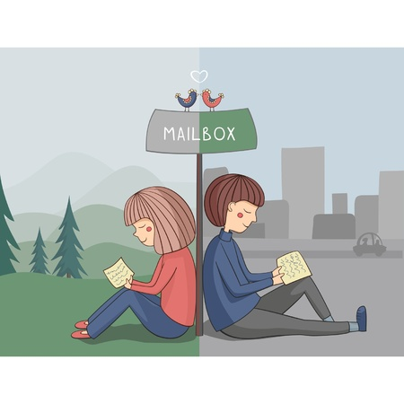 Girl and boy read mail near mailbox