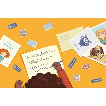 African girl writes a letter with postcard Vector
