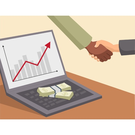 Business handshake and money on laptop