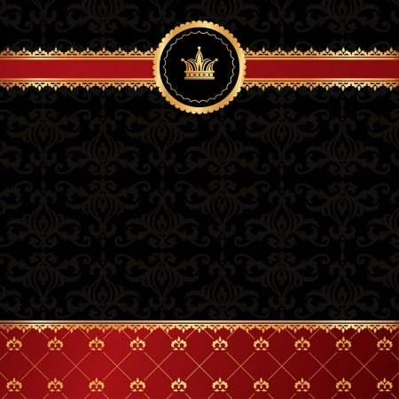 Vintage black background with golden ornamental ribbon, red damask pattern and crown Иллюстрация