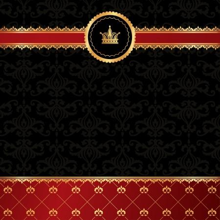 Vintage black background with golden ornamental ribbon, red damask pattern and crown Stock Illustratie