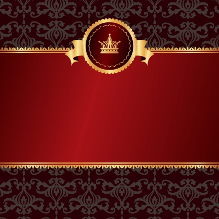 Vintage red background with frame of golden elements and crown on black pattern without text Vector