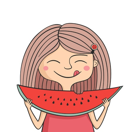 Illustration of happy girl eats sweet watermelon and lick ones lips Illustration